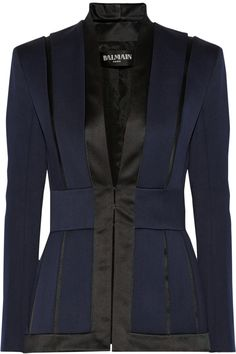 Shop for Satin-trimmed wool-crepe blazer by Balmain at ShopStyle. Balmain Jacket, Balmain Blazer, Work Fashion, High Fashion, Fashion Outfits, Blazer Outfits, Discount Designer Clothes, Jackett, Blazer Jacket