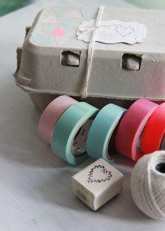 Decorar cajas de hueveras con washi tape