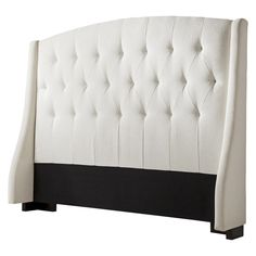 roma tufted wingback headboard ivory #Uniquewood #HeadboardHeadBoards Upolstered Headboard, Old Headboard, Wingback Headboard, Tufted Headboards, Bed Boards, My First Apartment, Beautiful Bedrooms, Bedroom Furniture, Mattress