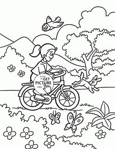 girl rides a bicycle coloring page for kids spring coloring pages printables free wuppsy