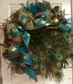 Peacock Wreath by HighMaintenanceDes on Etsy