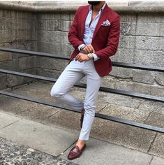 Quality Burgundy Mens Suits with Pants Groom Wedding Tuxedos Groomsmen Blazers Jacket Slim Fit Terno Masculino Costume Homme with free worldwide shipping on AliExpress Mobile Blazer Outfits Men, Mens Fashion Blazer, Suit Fashion, Red Blazer Outfit, Men Blazer, Fasion, Stylish Men, Men Casual, Casual Styles