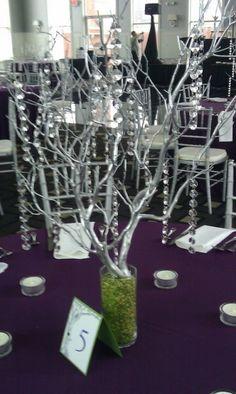 16 Silver Manzanita Branch Centerpieces with Hanging Crystals :  wedding centerpieces crystal diy manzanita reception Centerpieces