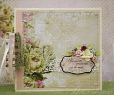 Floral scrapbook mini album 6x6'' with interactive pages, decorated with patterned papers