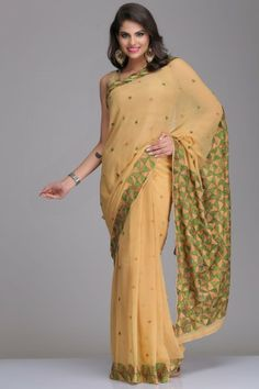 Beige Chiffon Saree With Green & Beige Phulkari Embroidery