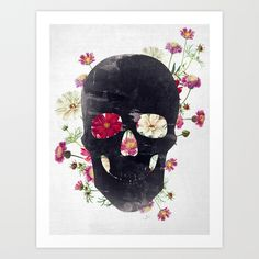 Buy Skull Grunge Flower Art Print by Francisco Valle. Worldwide shipping available at Society6.com. Just one of millions of high quality products available.