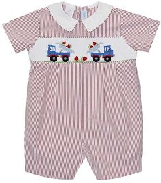 7d960f16624 Red   White Pinstripe Truck Smocked Romper - Infant Red And White