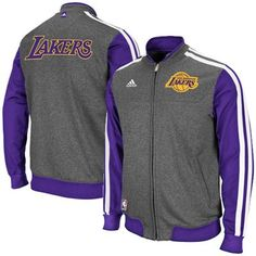 big sale 051b7 283f2 adidas Los Angeles Lakers On-Court Winter Full Zip Track Jacket - Charcoal  Purple