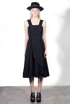 Vintage 1988 COMME DES GARCONS Black PINAFORE Dress