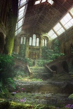 Nature takes over. Shows that buildings need maintenance. Thi Fantasy Makeup Abandoned buildings church maintenance Nature shows takes Thi Abandoned Buildings, Abandoned Mansion For Sale, Abandoned Castles, Abandoned Mansions, Abandoned Library, Abandoned Detroit, Abandoned Train, Abandoned Cars, Abandoned Places In The Uk