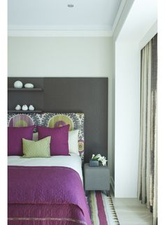 Purple Interiors-Raspberry moves into purple territory here. I love this hue paired with gray. These two colors work well!