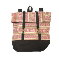 Backpack Sari Bari - Natural and Pink // This backpack is stylish and very practical. It is so roomy you could use it for an overnight bag or a daily bag for work, school, or play.