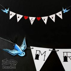 Swallows Wedding Bunting By Rae Henry Designs. Mr & Mrs Tattoo Sailor Jerry Rockabilly Happy birthday instead? Punk Wedding, 50s Wedding, Wedding Bunting, Skull Wedding, Mr And Mrs Wedding, Wedding Matches, Wedding Venues, Wedding Ideas, Wedding Shit