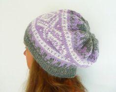 Women's Winter Hat, Norwegian Nordic Scandinavian Design, Softest Alpaca Wool in Purple, Grey and White - Great Gift!