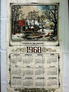 1968 Linen Kitchen Calendar Towel by PurpleIrisVintage on Etsy, $15.00