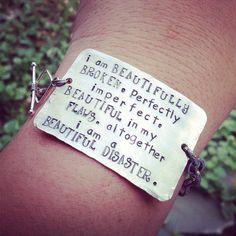 hand stamped beautifully broken bracelet  on Etsy, $31.00
