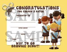 Girl Scouts Brownie Scout Patch Earned Certificate - Multi Scout - INSTANT DOWNLOAD