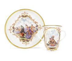 A rare early Meissen double-handled beaker and saucer, circa 1723