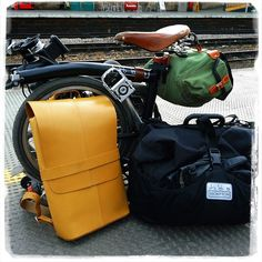 Brompton folded and loaded. Brompton T-bag, Zimbale saddle bag and Brooks knapsack. #altphoto | Flickr - Photo Sharing!