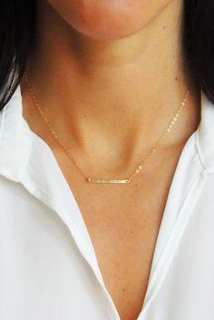 HAMMERED HORIZONTAL BAR NECKLACE - Christine Elizabeth Jewelry™ | Glamour and Glow