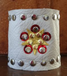 white LEATHER cuff bracelet with star gold & red by whackytacky, $45.00