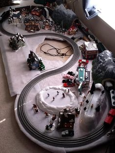 Christmas Layout 80% complete – Dept 56 Snow Village and Lionel train