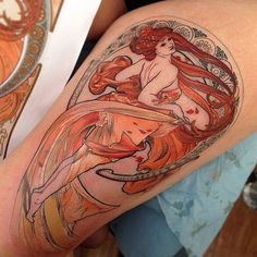 Women were a popular subject in Art Deco designs which is why these arworks often find their way into pin up girl tattoos