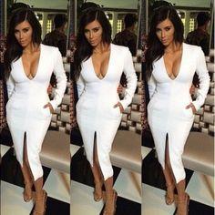 Kim Kardashian Inspired Long Sleeved White Dress.