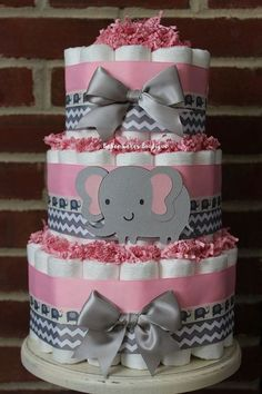 3 Tier Pink and Gray Elephant Diaper Cake for a Girl Elephant Themed Baby Shower