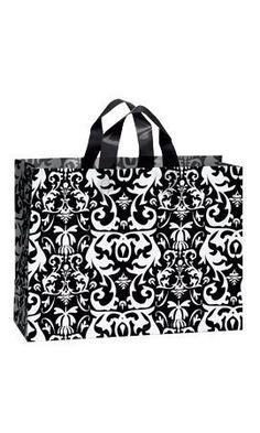 Lot of 10 Large Black Damask Frosted Corporate Shopping Holiday Birthday Plastic Gift Bag Bags X X *** Click image for more details. Black And White Style, My Black, Large Black, Plastic Gift Bags, Plastic Shopping Bags, Shopper Bag, Tote Bag, Gift Store, Damask