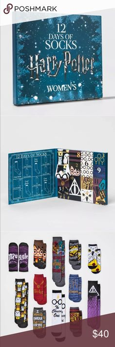 Harry Potter 2017 Advent 12 Days of Socks Set Harry Potter 2017 Advent 12 Days of Socks Set SOLD OUT VHTF In hand new in box never been open nothing wrong with it size 4-10 Accessories Hosiery & Socks