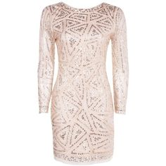 Boohoo Lauren Sequin Long Sleeved Bodycon Dress | Boohoo (£30) ❤ liked on Polyvore featuring dresses, vestidos, bodycon dress, sequin dresses, pink sequin dress, boohoo dresses and body con dress