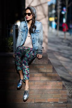 Jamie Chung What the Chung? AE Denim Hooded vest Tucker top Sam & Lavi floral pants Kate Spade Saturday Silver oxfords Linda Farrow sunnies #streetstyle