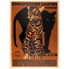 Original Antique Poster by Hohlwein for Munich Zoo - Zoologischer Garten Munchen