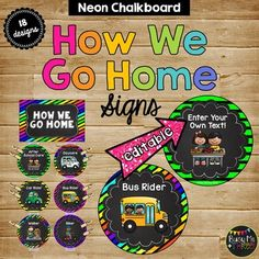 This is a 330 page set of NEON and CHALKBOARD themed transportation signs.