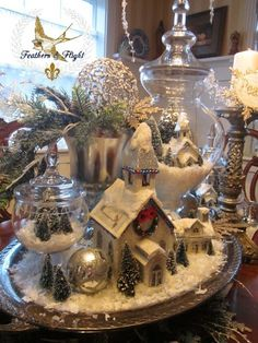 Christmas Village in glass!poco s & Flight ~Jill McCall-Marcott~Mixed Media & Digital Artist: Winter White Christmas Table Scape Noel Christmas, Winter Christmas, All Things Christmas, Vintage Christmas, Christmas Crafts, Christmas Ornaments, White Christmas Trees, French Christmas, Christmas Glitter