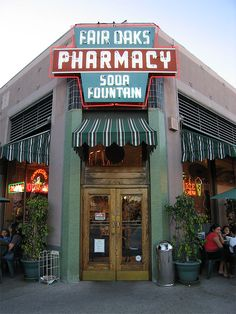 Fair Oaks Pharmacy - South Pasadena, one of the oldest and one of the BEST Old Time Soda Fountains. All the authentic old fashioned favorites still available! Have a soda jerk whip you up an egg cream or malted!! Plus nostalgic candy and gift shop.