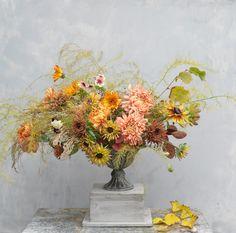 Seasonal autumn urn arrangement by The Irish Flower Farmer Fall Wedding Flowers, Wedding Flower Inspiration, Fall Flowers, Autumn Wedding, Flower Farmer, Irish Wedding, Urn, Dahlia, Harvest