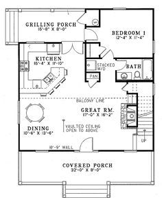 Farmhouse Style House Plan - 2 Beds 2 Baths 1400 Sq/Ft Plan #17-2019 Floor Plan - Main Floor Plan - Houseplans.com