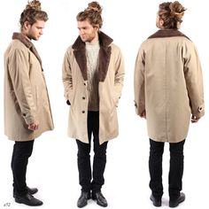 FUR COLLAR Mens Coat . Mens Faux Fur Insulated Overcoat Mens Winter Greatcoat Retro Beige Urban Casual Outerwear . Medium to Large