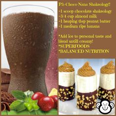 Peanut Butter Chocolate Banana Shakeology Recipe ~ Beachbody's Shakeology is the healthiest meal of the day. Shakeology is packed with more than 70 of the world's most potent, most nutritious, and most delicious ingredients.  Order yours today!  www.shakeology.com/annariegler