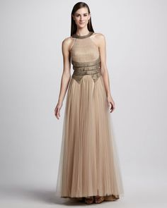 Tiered Tulle Halter Combo Gown by Catherine Deane at Neiman Marcus.