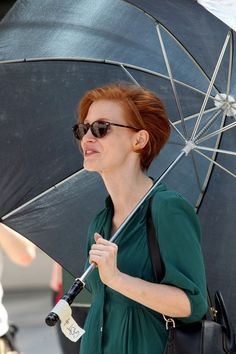 "Short haired Jessica Chastain (and her umbrella filming) scenes for her new film ""The Disappearance of Eleanor Rigby"""