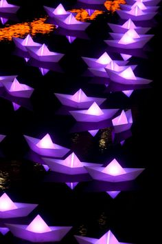 illuminated with different colored LED lights, Claudio Benghi and Gloria Ronchi from Aether & Hemera lit up London's Canary Wharf with a beautiful fleet of Interactive Installation, Interactive Art, Installation Art, Illumination Art, Shadow Photography, Autumn Lights, Diy Bar, Festival Lights, Tree Lighting