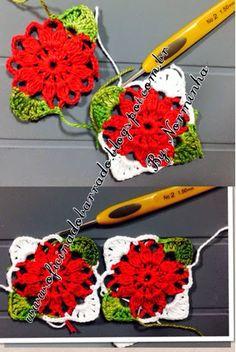 Crochet Flower Squares, Crochet Flower Tutorial, Crochet Circles, Granny Square Crochet Pattern, Crochet Flower Patterns, Crochet Blanket Patterns, Crochet Motif, Crochet Doilies, Crochet Flowers