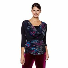 American Glamour Badgley Mischka Cowl Neck Top in Floral Print.
