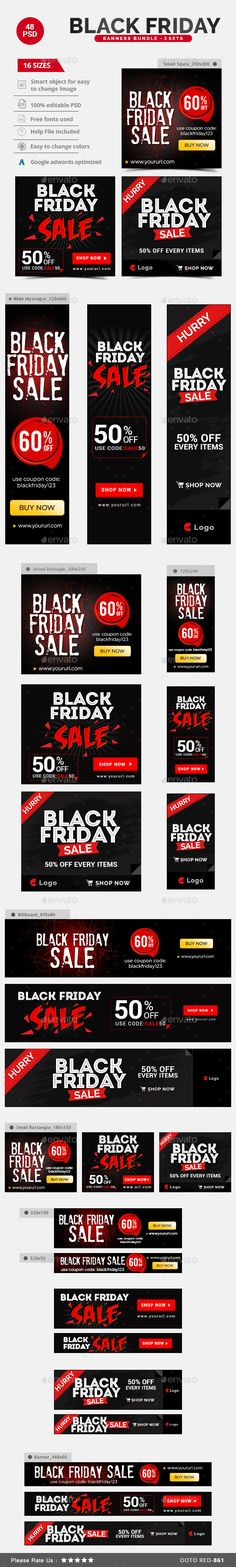 Black Friday Sale Banners Bundle - 3 Sets Templates PSD #design #ads Download: http://graphicriver.net/item/black-friday-sale-banners-bundle-3-sets/13758337?ref=ksioks