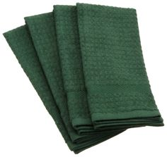 Amazon.com - DII 100% Cotton Basic Waffle Terry Towel Set of 4, Dark Green - Kitchen Towels #AmazonCart #DII #DesignImports