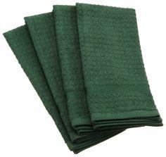 Amazon.com - DII 100% Cotton Basic Waffle Terry Towel Set of 4, Dark Green - Kitchen Towels #AmazonCart #DII #DesignImports