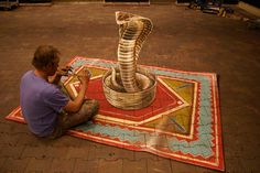 For the upcoming snake show in the Intratuin Utrecht, I made a 3D anamorphic cobra coming out of the basket. - Leon Keer